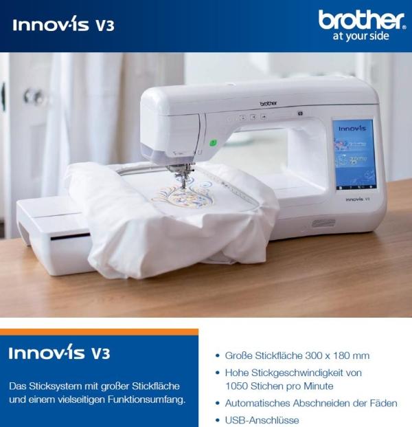brother stickmaschine innov is v3 mit 3 jahren garantie. Black Bedroom Furniture Sets. Home Design Ideas